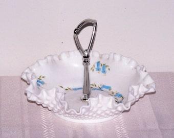 SALE!   Hob Nob Milk Glass Chrome Handle Candy Dish