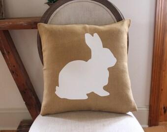 Jute Bunny Pillow Cover,easter pillow,easter decor,rabbit pillow,bunny pillow,burlap,white bunny pillow,farmhouse decor,neutral home decor