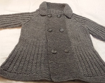 Hand Knit Toddler Grey Sweater Jacket Size 2T