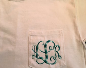 OMBRE MONOGRAM { Comfort Colors Pocket Tee } Embroidered