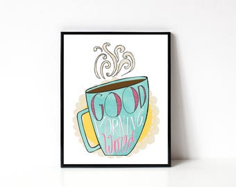 Coffee Wall Art - Kitchen Illustration Print - Coffee Art Print - Coffee Lover Gift - Morning Person - Tea Lover Gift - 8x10 Art Print