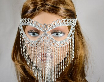 Clear Rhinestone Metal Masquerade Mask, Mardi Gras Mask, Masquerade Mask, Jeweled Bridal Mask, Queen Mask,new year party mask