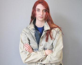 Acid Washed Denim Jacket  / Vtg 80s / Jack Mulqueen Oversized Blue Acid Washed Denim Jacket / Size Small