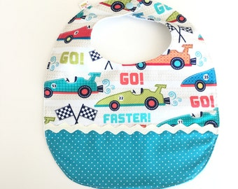 Race cars baby bib; babyshower gift;Boy teething bib; Blue drooling bib, Absorbent bib;