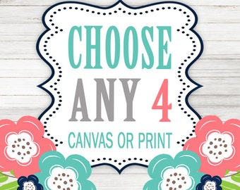 Create Your Own Set of 4 Wall Art Choose Any 4 Four CANVAS or Prints Quote TRM Design Home NURSERY Boy Girl Home Decor Wall Decor Pictures  sc 1 st  Etsy & Create Your Own Set of 3 Wall Art Choose Any 3 Three CANVAS