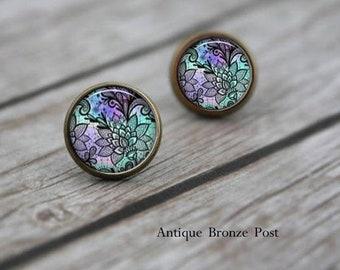 Purple Flower Earrings, Post Earrings, Gift for Her, Gift for Women, Girls Earrings, Abstract Earrings, Stud Earrings, Birthday Gift for Her