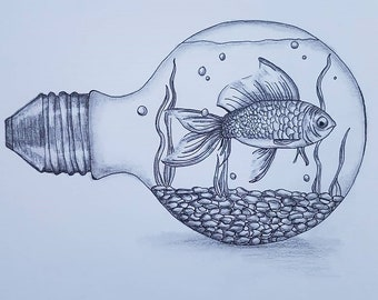 Pencil Art 'fish in lightbulb'  210 x 297 mm on artist paper