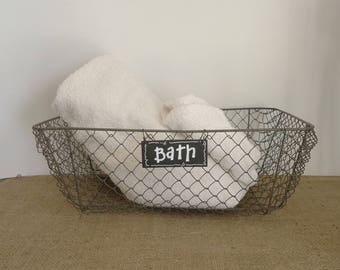 large wire basket, bathroom storage, farmhouse kitchen, chicken wire fruit basket, cottage country, shabby chic, kitchen decor,