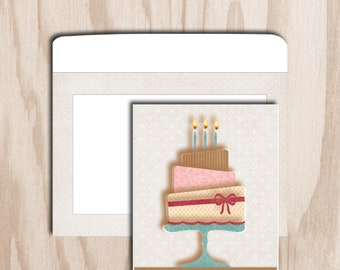 Birthday card and envelope is a digital print - cake 3 floors with candles - textured white background