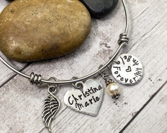 Memorial Bracelet - Forever My Angel - Wire Bangle Bracelet - Angel Bracelet - Remembrance Jewelry - In Memory Jewelry