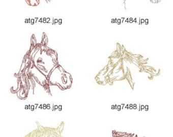 Redwork-Horses ( 10 Machine Embroidery Designs from ATW ) XYZ17D