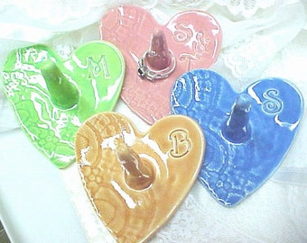 Heart Shape Ring Holder Monogram Initial Stamped MADE to ORDER Handmade Ceramic Pottery Choose Color - Pink, Peach, Blue, Spring Green