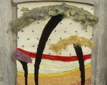 "Woven tapestry, wall hanging fiber art, ""3 trees"""