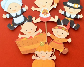 Thanksgiving cupcake toppers, 12 Thanksgiving toppers, Thanksgiving baby toppers , Thanksgiving baby shower, Thanksgiving party decor