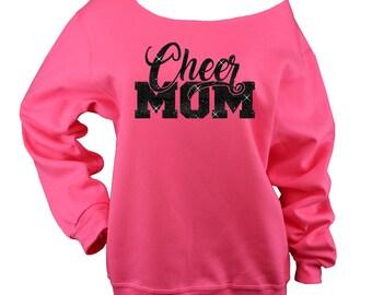 Cheer Mom Sweatshirt Off Shoulder Raw Edge GLITTER, cheer mom shirt, cheer shirt, cheer sweatshirts, cheer coach, Plus Sizes (Black Glitter)