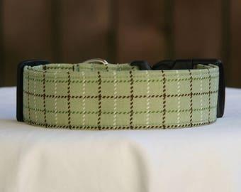 Dog Collar-Green Brown-Plaid-Checks Checkered- Adjustable Dog- Pet Collar- Pet Accessories- Supplies- Buckle Collar