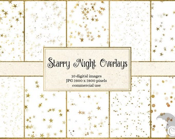 Starry Night Overlays, gold star confetti clipart, star clip art png gold foil digital overlays, digital download commercial use