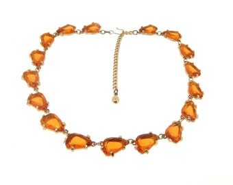 Vintage Yellow Necklace Amber Crystal by Sphinx