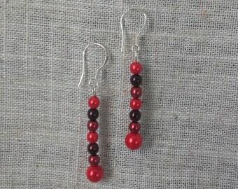 Red drop earrings on sterling silver earwires