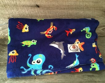 Cuddly soft minky fabric blanket background sailor whale shark seahorse crab Starfish turtle