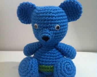 Teddy Bear, Crochet Teddy Bear, Amigurumi Teddy Bear, Stuffed Animal, Handmade Teddy, Soft Toy, Teddy Bear Gift, Blue Teddy Bear