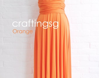 Bridesmaid Dress Orange Maxi Floor Length, Infinity Dress, Prom Dress, Multiway Dress, Convertible Dress, Maternity - 26 colors
