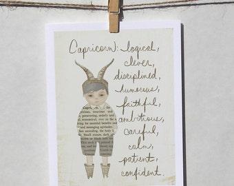 Capricorn boy card Astrology card Zodiac card Astrological sign card with envelope
