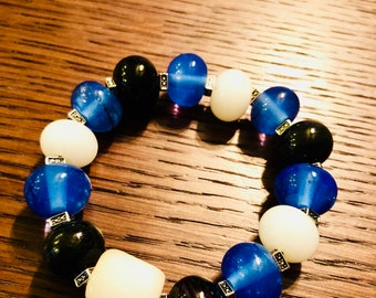 Handmade glass beaded bracelet - one of the kind