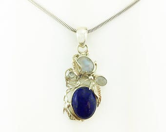 Lapis Lazuli and Rainbow Moonstone Pendant Sterling Silver 925 Opalescent & Blue 10.41 Grams