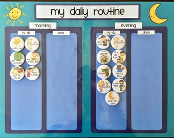 Kids Magnet Chore Board, Daily Routine, Task Chart - Regular or Personalized