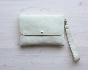 White Leather Clutch, Leather Clutch, Evening Clutch, Bridesmaids Clutch, Envelope Clutch, Clutch Bag, Leather Envelope, Wedding Clutch