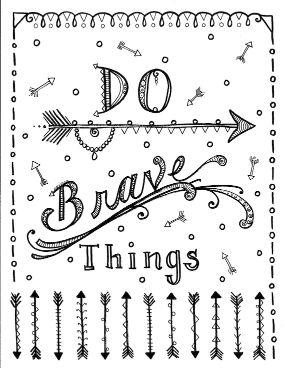 instant download be brave arrows coloring page adult coloring