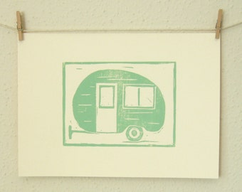 RESERVED FOR MICHELLE Vintage Travel Trailer Print, A Hand Pulled Linocut Print in Green