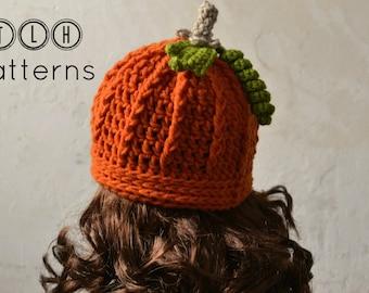 Crochet hat pattern, Crochet baby hat, photo prop, crochet pumpkin hat, 4 sizes, 6-12 months, toddler, child and adult, Pattern No. 23