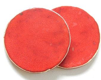 round coasters, ceramic coasters, bright clay, red, set of two, 2pc,red round coasters, ceramic tableware, home decor
