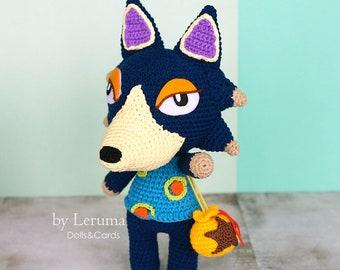 MADE TO ORDER Wolfgang Plush Animal Crossing, Animal Crossing wolf villager, Animal Crossing amigurumi toy, Animal Crossing crochet doll