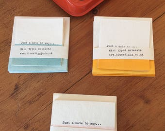 Mini Typed Notelets - blue, pink or yellow made from recycled handmade cotton paper