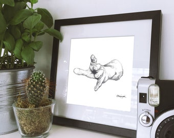 Outstretched Hand - Giclee Art Print of Hand Drawn Illustration, unframed