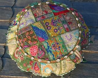 Floor cushion boho floor seating area meditation cushion round patchwork floor pillow, green floor cushion indian floor seating hippie decor