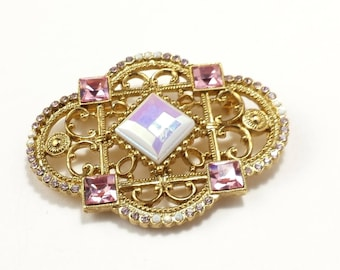Vintage | brooch | rhinestone | large | pink | gold tone | tall | wide
