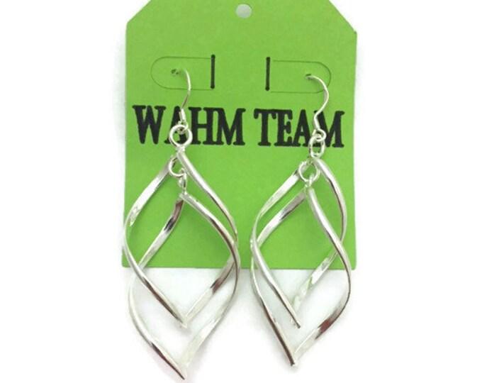 Silver Dangle Earrings, Silver Twist Dangle Earrings, Silver Wire Twist Drop Earrings, 2 inch Dangle Earrings, Silver Twist Leaf Earrings
