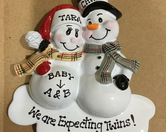 33% Off Expecting Twins Personalized Christmas Ornament Oregnant SnowmanCouple Expecting Parents Mom to be, Dad to be Pregnancy announcement