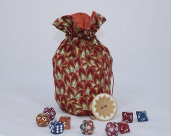 SALE! Vintage-Inspired Brown Feather Dice Bag - Medium