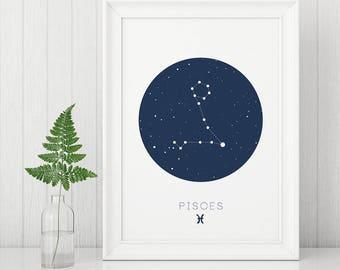 Pisces prints, astrology sign prints, zodiac wall art, constellation prints, minimalist prints, printable wall art, pisces star sign