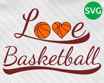 Love Basketball SVG Design - SVG Basketball Love cut file for Cricut & Silhouette - Basketball Heart SVG clipart - Basket ball Svg Files