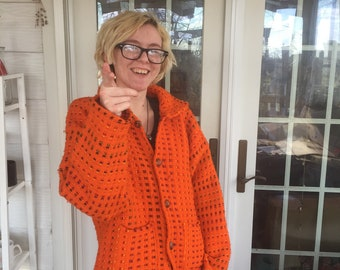 Orange You Feeling Great Today! Vintage Handmade Sweater, Orange, One of a Kind, Oddities, Handmade, M/L , Retro, Shocking