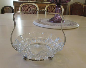 GLASS BOWL with Metal Holder