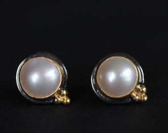 Pearl earrings, stud earrings, gift for her, june birthstone earrings, gemstone earrings , freshwater pearls