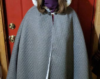 Cosplay Cloak with Hood fur lined