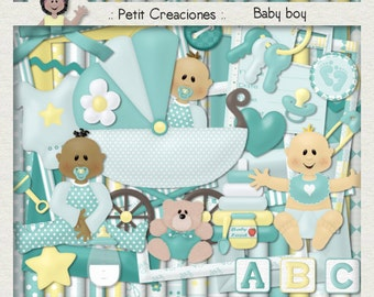 "KIT SCRAPBOOKING DIGITAL ""Baby boy"""